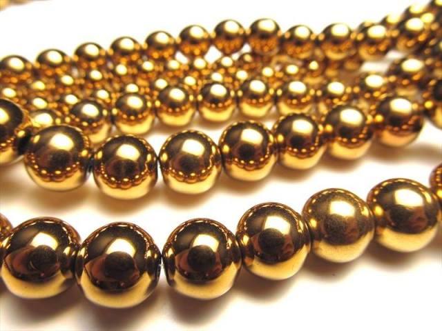 激安宣言 ゴージャス光沢 8mm珠 ヘマタイト(赤鉄鉱)ゴールドカラー 一連 約39cm ブラジル産 geki