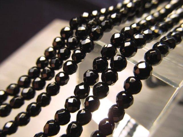 極小サイズ カット 3mm珠 一連 ブラックオニキス 約39cm カット 穴径約0.6mm