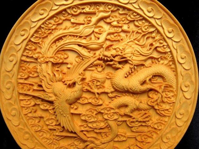 5A極上彫り お皿型龍神&鳳凰彫り 直径約145mm 台付き 木彫り 龍神&鳳凰 風水やインテリアに ※箱に凹み有り