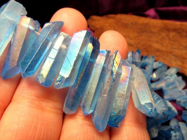 大人気 さわやかブルー 透明感抜群 ナチュラルポイント 一連 アクアオーラ ナチュラルポイント連 クレオ穴 縦約10-40mm 約40cm