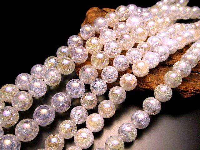 オーラタイプ 12mm珠 一連 レインボー水晶(爆裂水晶) 約40cm