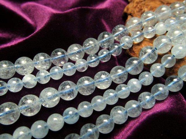 極上AAAAグレード 透明 8-8.5mm珠 一連 4Aアクアマリン連 約40cm ブラジル産