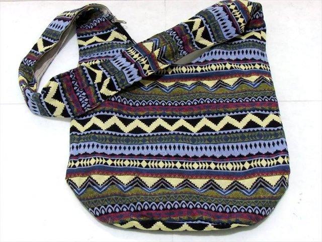 アジアン 布製バッグ (幾何学模様-1) ショルダーバッグ 幅350mm 外ポケット×1 内ポケット×2