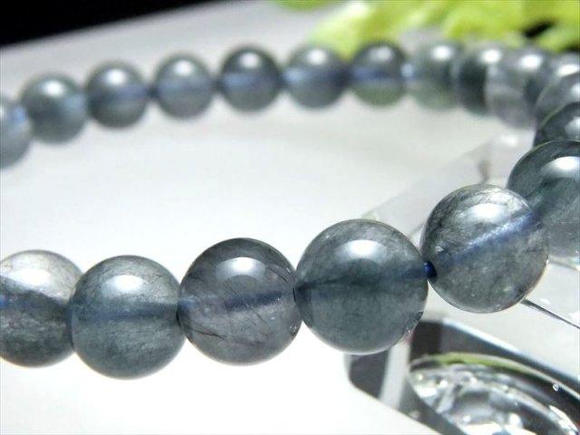 4A ブルーラビットヘアルチル ブレスレット 6.5-7mm×27珠 希少!極上ふんわりラビットヘア針状結晶 濃色繊細藍ルチル ブルールチル ブラジル産 sai