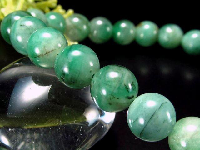 4A 極上艶感 濃色グリーン エメラルド ブレスレット 7mm-7.5mm×25珠 世界四大宝石の一つ 愛成就のお守り 叡智の象徴 翠玉 1点もの コロンビア産 sai