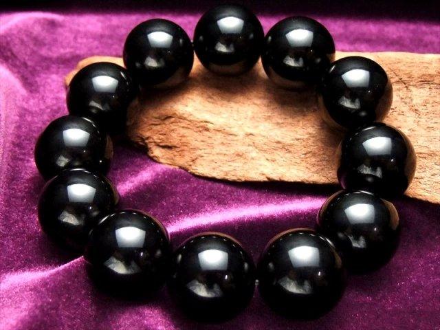 迫力の巨珠 20mm チベットモリオン 黒水晶 AAAA黒水晶ブレスレット 20ミリ×12珠 最強の魔除け 邪気払いの石 チベット産 of-F2