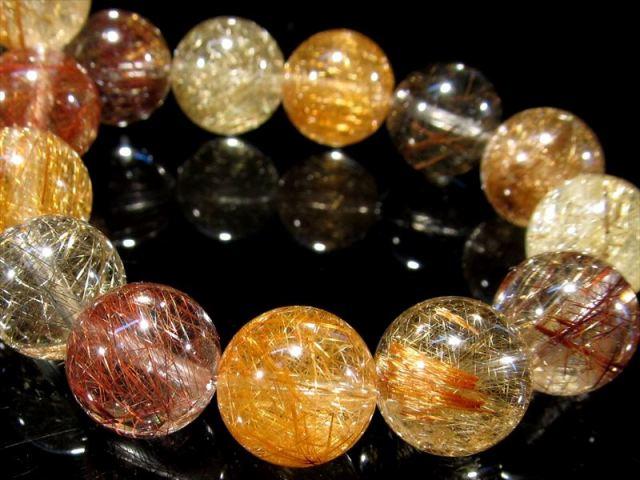 豪華 様々なカラーの針入り 4A 福禄寿 MIXルチルクォーツ ブレスレット 10mm-10.5mm×20珠 全ての願望を叶える福禄寿 一点もの ブラジル産 sai