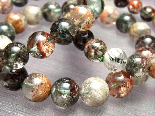 4A 色とりどり花庭園水晶 ブレスレット 11.5-12mm×18珠前後 超透明 ガーデン 精神の癒しに ブラジル産