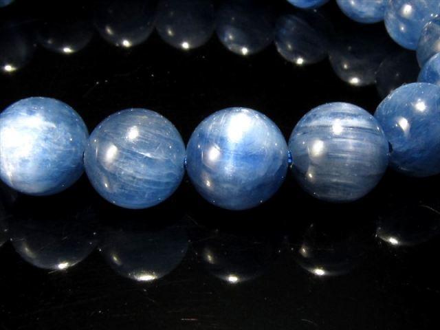 透明感抜群!5A カイヤナイト ブレスレット(藍晶石) 6.5mm-7mm×27珠 キャッツアイシラー珠あり つやつや濃厚ブルー 独立心や探究心を強める石 一点もの タンザニア産 sai