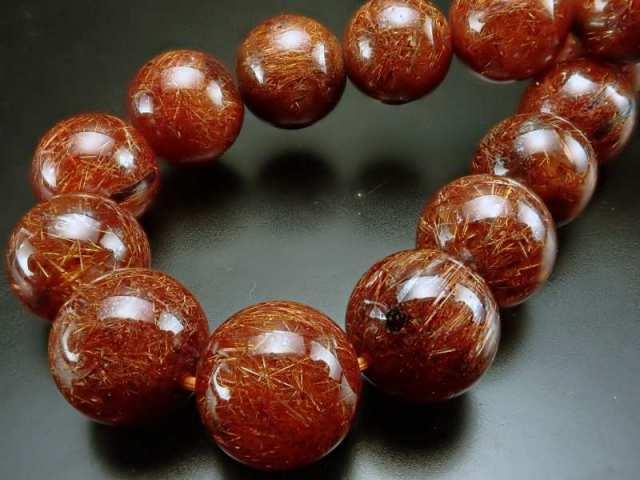 3A オレンジルチルクォーツ ブレスレット 10mm-10.5mm×20珠 金運と活力の石 温かみのあるオレンジ針 一点もの ブラジル産 sai