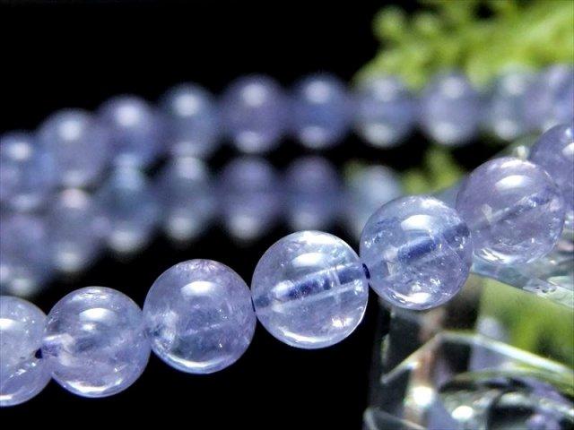 透明 5A級 宝石質 タンザナイト ブレスレット 6.5mm-7mm×27珠 美麗 極上青紫 ポジティブに変換する タンザニア産