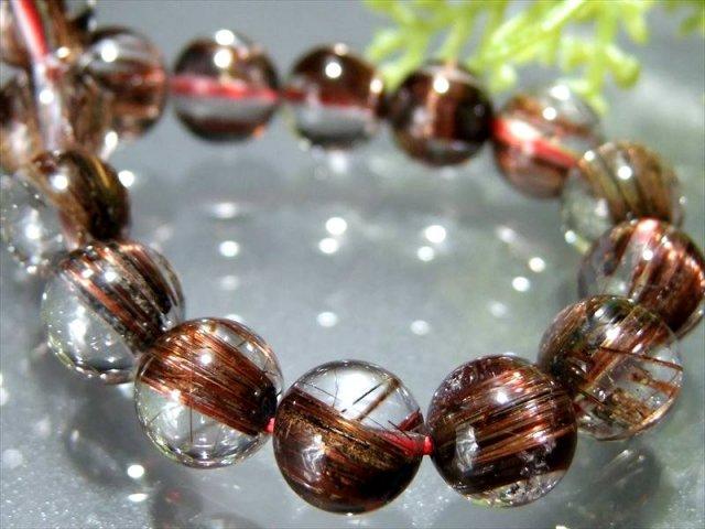 束針 4A レッド ブラウン タイチンルチルブレスレット 9.5mm-10mm×20珠 透明赤針 褐色レッドルチル 極上天然石 一点もの ブラジル産 sai