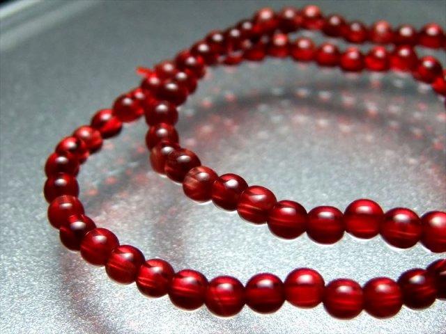5A級 超透明 レッドアンデシン ブレスレット 6.5mm-7mm×28珠 全珠キャンディレッド 中性長石 「本当の自分」に近づく変化を促す石 チベット産 sai