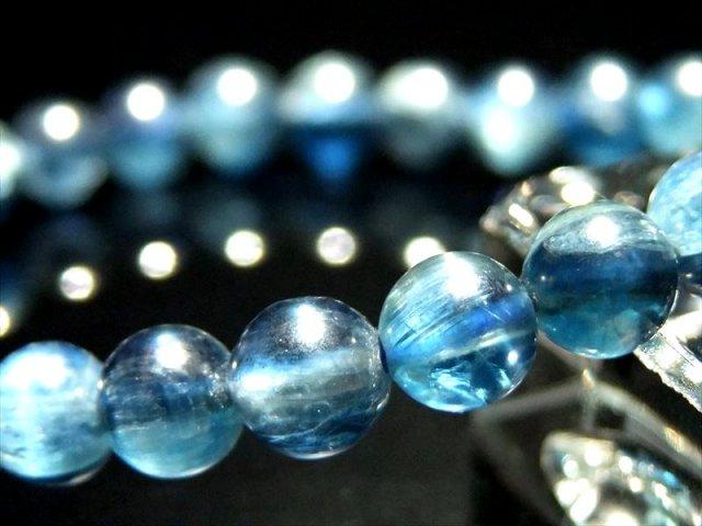 透明感抜群 5A ブルーグリーン カイヤナイト ブレスレット(藍晶石) 6.5mm-7mm×27珠 透明 つやつや濃厚ブルー タンザニア産