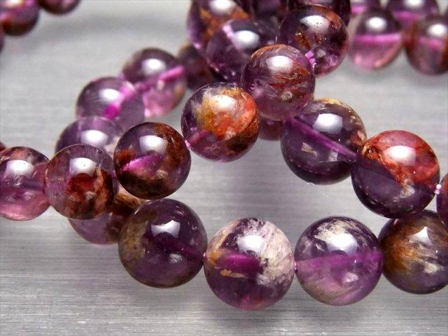激安宣言 3A アメジストガーデンエレスチャル(ガーデンアメジスト)ブレスレット 10mm-10.5mm×19珠前後 庭園紫水晶 マダガスカル産 geki