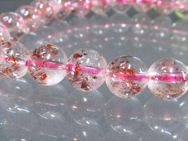 3A+ きらきらレピドクロサイト ストロベリークォーツ ブレスレット 9-9.5mm×21珠 透明感抜群 苺水晶 ブラジル産 sai