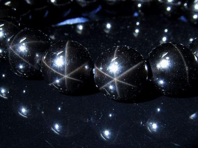 限定2本 希少!六条のスター効果! スターモリオン(星彩黒水晶)ブレスレット 約12.5-13mm×17珠 神秘的な星の輝き 激レア1点物 チベット産
