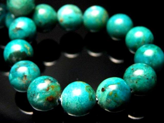 4A 明るめ クリソコーラ ブレスレット 10-10.5ミリ×19珠 光沢抜群 グリーン多め 幸運と繁栄の象徴 珪孔雀石 極上天然石 一点もの ペルー産