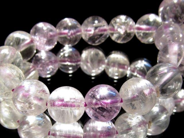 5A 透明ミックス クンツァイト ブレスレット 10mm-10.5mm×20珠 超透明度抜群 キャッツアイ効果あり キラキラ反射 リチア輝石 ヒデナイト珠有り 1点もの ブラジル産 sai
