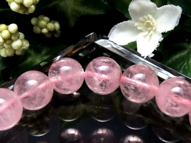 レア希少 超透明4A モルガナイト(ピンクアクアマリン)ブレスレット 9.5mm-10mm×19珠 幸せな結婚の象徴 可愛らしいベビーピンクカラー ブラジル産