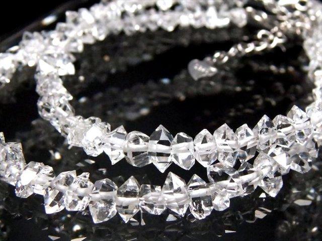 5A 超透明 ハーキマー結晶 ブレスレット (小)石サイズ幅約4-6mm 最高品質 ハーキマーダイアモンド 3cmのアジャスター付き ニューヨーク州産
