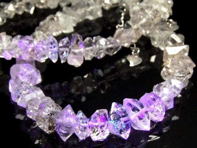 超希少!古代の石油を内包した激レア水晶 透明 オイルクォーツ結晶 ブレスレット 石サイズ幅約6-12mm(石油入り水晶)SILVER925アジャスター付き パキスタン産