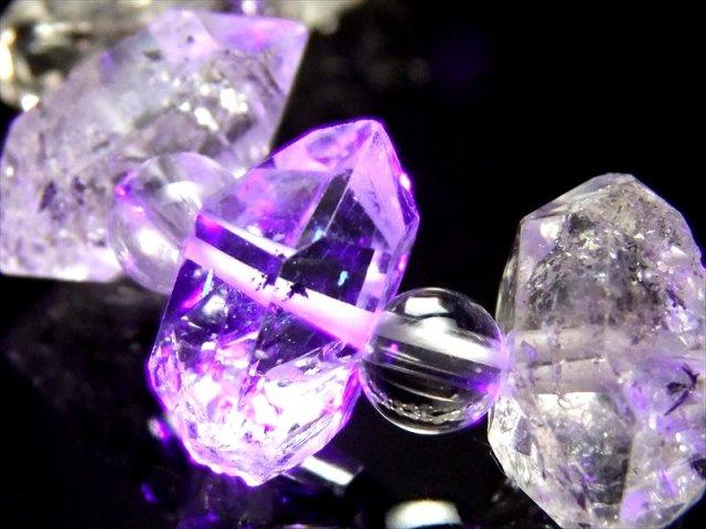 超透明 4A!古代の石油を内包した激レア水晶【水晶&オイルクォーツ結晶 デザインブレスレット】石サイズ幅約13-18mm・水晶6mm【パキスタン産】