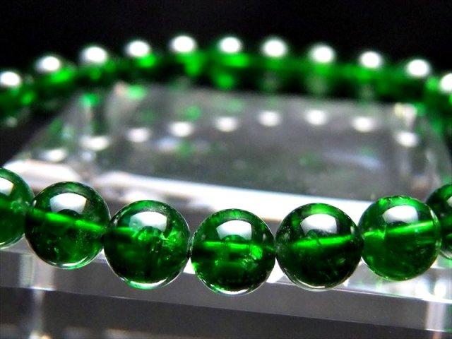 極上5A【クロムダイオプサイト ブレスレット】6.5mm-7mm×27珠 超透明宝石質 深みのある鮮やかな緑色 知恵と叡智の石【ロシア産】