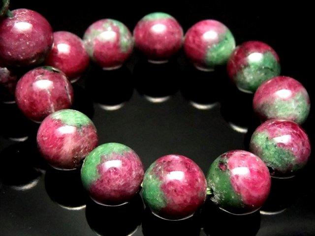 4A【ルビーインゾイサイト ブレスレット(紅玉)】11mm×18珠 1点物 愛する人を引き寄せる石【ナイジェリア産】