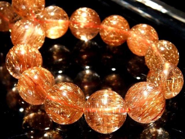 煌くオレンジ針 4A オレンジルチルクォーツ ブレスレット 11.5mm-12mm×18珠 金運と活力の石 一点もの ブラジル産