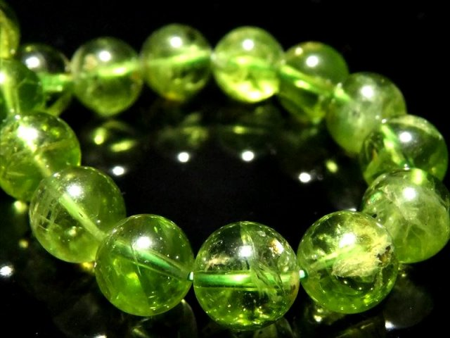 超透明 5A ペリドット ブレスレット 9mm-9.5mm×23珠(かんらん石) 8月誕生石 一点もの ミャンマー産