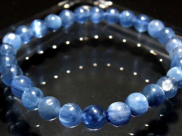 4A ほんのりキャッツアイ効果 カイヤナイト ブレスレット(藍晶石) 6.5mm-7mm×28珠 鮮やか 美麗ブルー 独立心や探究心を強める石 ブラジル産