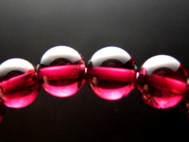 超透明 赤紫 4A ロードライト ガーネット ブレスレット 7mm-7.5mm×25珠 努力が実る石 1点もの インド産