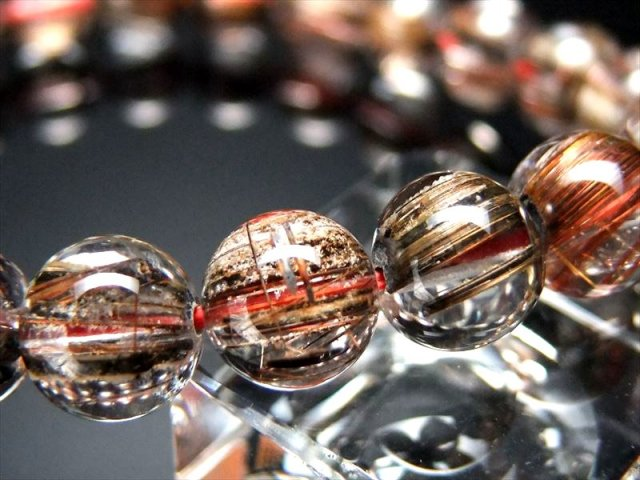 金属光沢針に純白雪化粧 4A ホワイトガーデン ブラウンルチルクォーツ(庭園針水晶)ブレスレット 8.5mm-9mm×22珠 ブラジル産