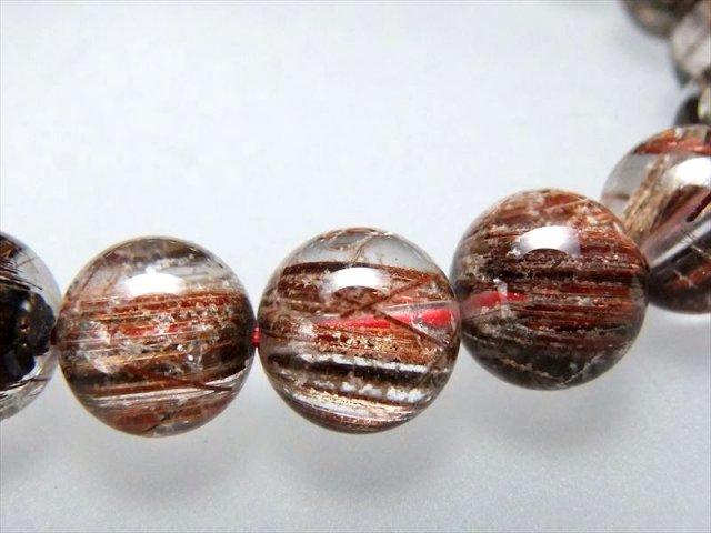 金属光沢針に純白雪化粧 4A ホワイトガーデン ブラウンルチルクォーツ(庭園針水晶)ブレスレット 9.5mm-10mm×20珠 ブラジル産