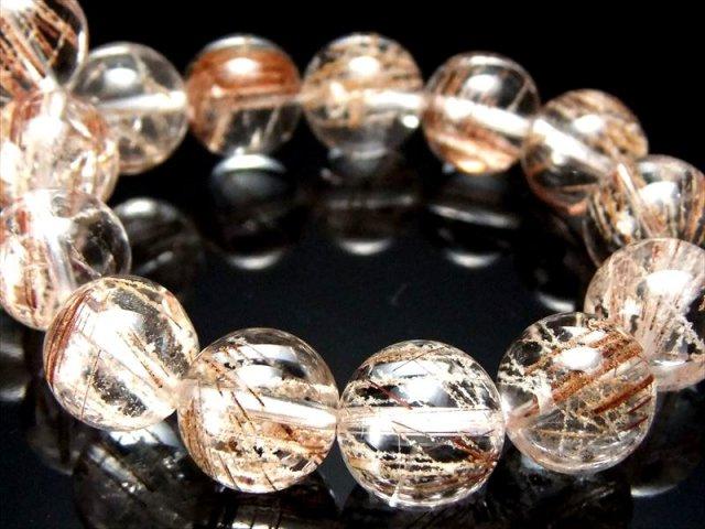 ほんのり雪化粧したルチル針 4A ホワイトガーデン ルチルクォーツ(庭園針水晶)ブレスレット 11mm-11.5mm×18珠 ブラジル産
