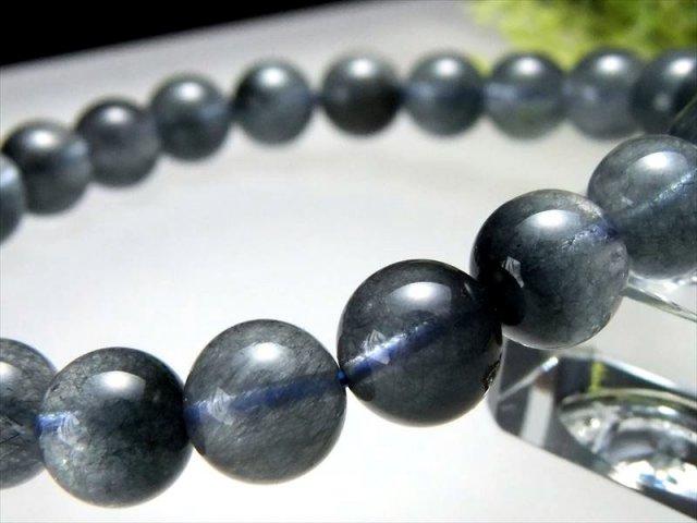4A ブルーラビットヘアルチル ブレスレット 8.5mm-9mm×22珠 希少 極上ふんわりラビットヘア針状結晶 濃色繊細藍ルチル ブルールチル ブラジル産