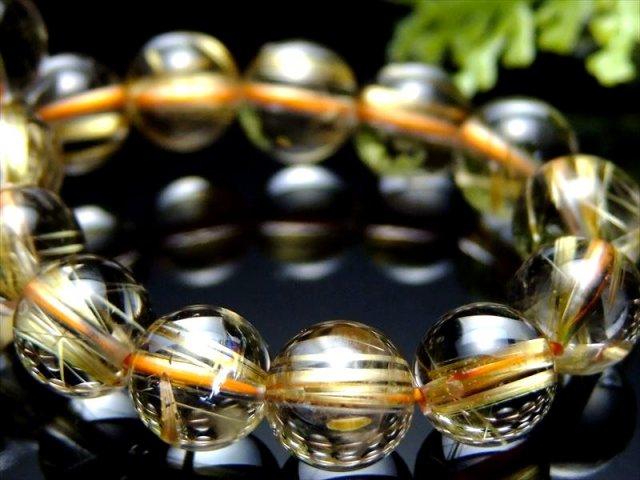 煌めき4A+級 最強タイチンルチル ブレスレット 8.5mm-9mm×22珠 たっぷり太針 パワーストーン ブラジル産