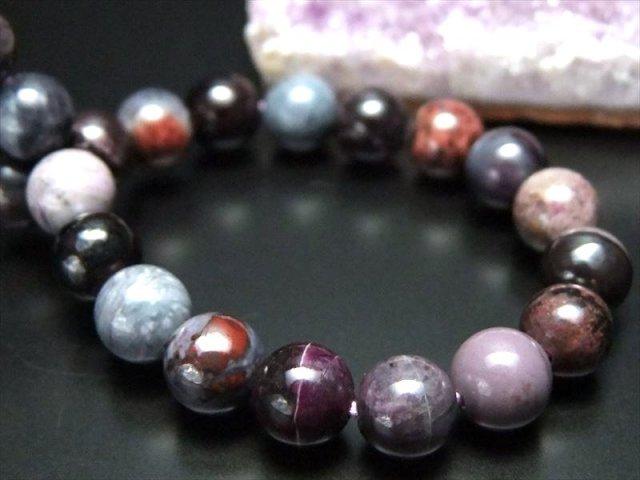 激レア入荷 4A+ 宝石質 藤色系紫MIXカラー スギライト 杉石 ブレスレット 7mm-7.5mm×25珠 つやつや 激レア限定入荷 一点もの 南アフリカ産