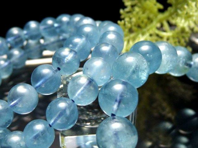 濃い透明タイプ 大特価3A アクアマリン ブレスレット 8.5mm-9mm×22珠前後 濃いミルキーブルー 幸せな結婚の象徴 ブラジル産