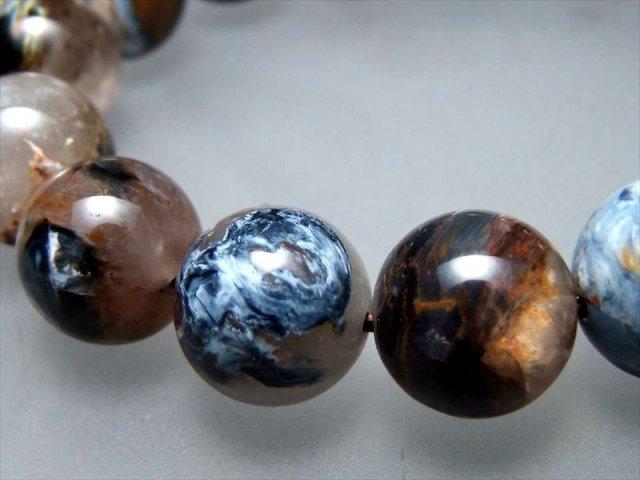 超透明シリカ共生タイプ! 3A ゴールド&ブルー ピーターサイトシリカ ブレスレット 14mm-14.5mm×15珠 別名 テンペストストーン(嵐の石) 1点もの ナミビア産