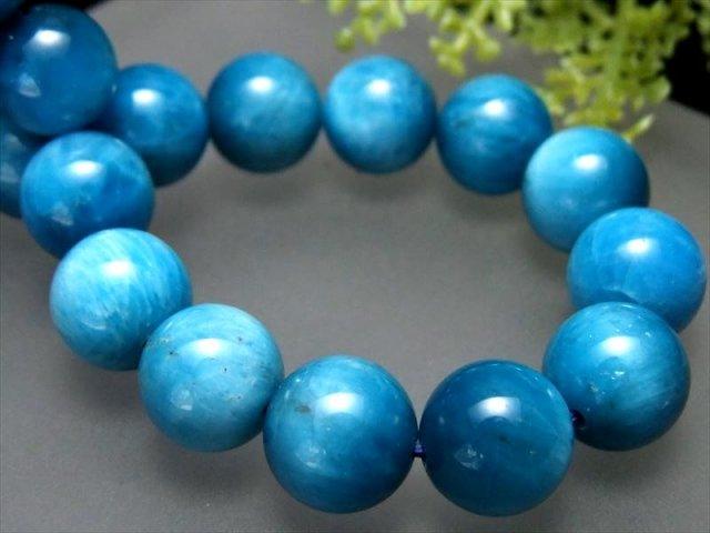 3A スカイブルーグラデーションアパタイト(燐灰石) ブレスレット 10.5mm-11mm×19珠 ブルーとミルキーカラーのグラデーション 調和を象徴する石 キャッツアイ効果有り ブラジル産