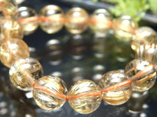 煌めき 4A+ 最強タイチンルチル ブレスレット 8.5mm-9mm×22珠 極上天然石 束状ゴールドルチル ブラジル産 sai