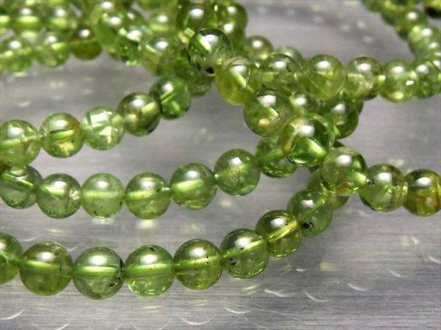 3A ペリドットブレスレット 6-6.5mm×32珠前後 かんらん石 8月の誕生石 人気の極上グリーンの石 ミャンマー産
