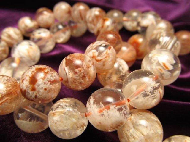 オレンジ&ホワイトアゲートインクォーツ ブレスレット 9-9.5mm×21珠前後 激レア 白瑪瑙と水晶の共生 浄化と癒しの石 ブラジル産