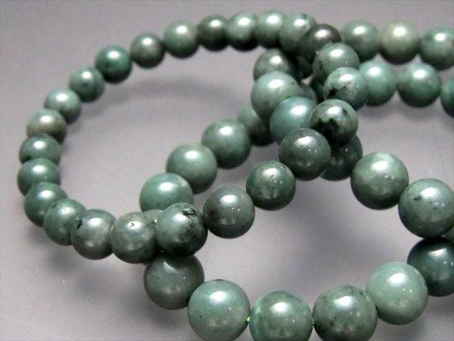 3A 濃い エメラルド(翠玉) ブレスレット 10-10.5mm×19珠前後 自分と周りを癒す石 つやつや濃いグリーン 叡智の象徴 コロンビア産