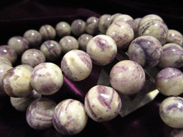 ティファニーストーン オパールフローライト ブレスレット 12mm×17珠前後 激安 パープル&ホワイトの絶妙マーブル 能力の開花・美的センスの石 アメリカ産