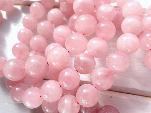 ミルキーディープローズクォーツ(紅石英)ブレスレット 13mm-13.5mm×15珠前後 つやつやミルキーピンク色 マダガスカル産