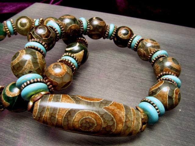 人気の天珠商品 激安 緑龍紋天珠ブレスレット 三眼天珠タイプ メイン天珠長さ約39mm sai