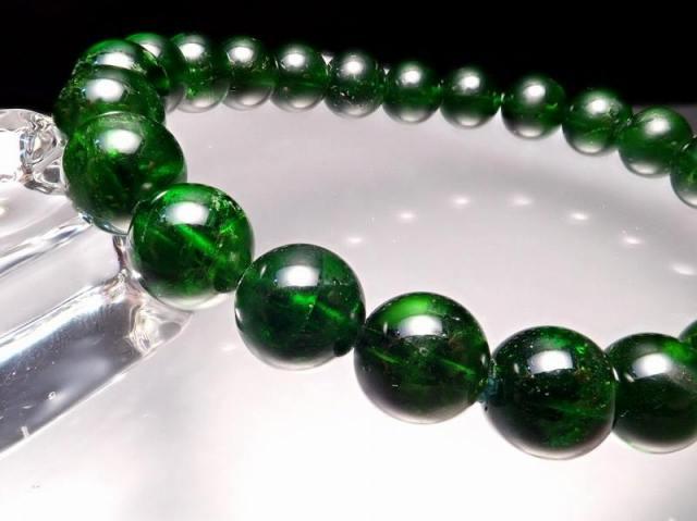 5A クロムダイオプサイト ブレスレット 7.5-8mm×24珠 超透明宝石質 深みのある鮮やかな緑色 知恵と叡智の石 一点もの ロシア産 sai